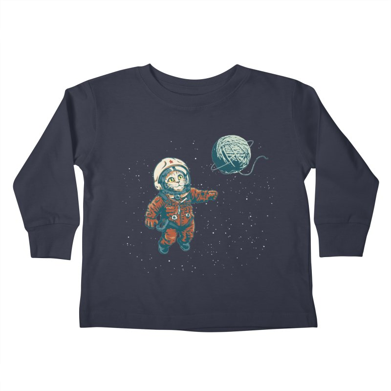 Soviet Space Cat Yarn Planet Kids Toddler Longsleeve T-Shirt by sketchboy01's Artist Shop