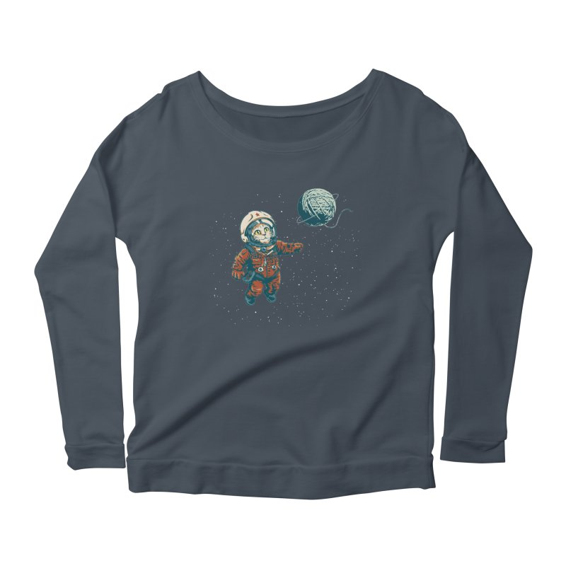 Soviet Space Cat Yarn Planet Women's Longsleeve Scoopneck  by sketchboy01's Artist Shop