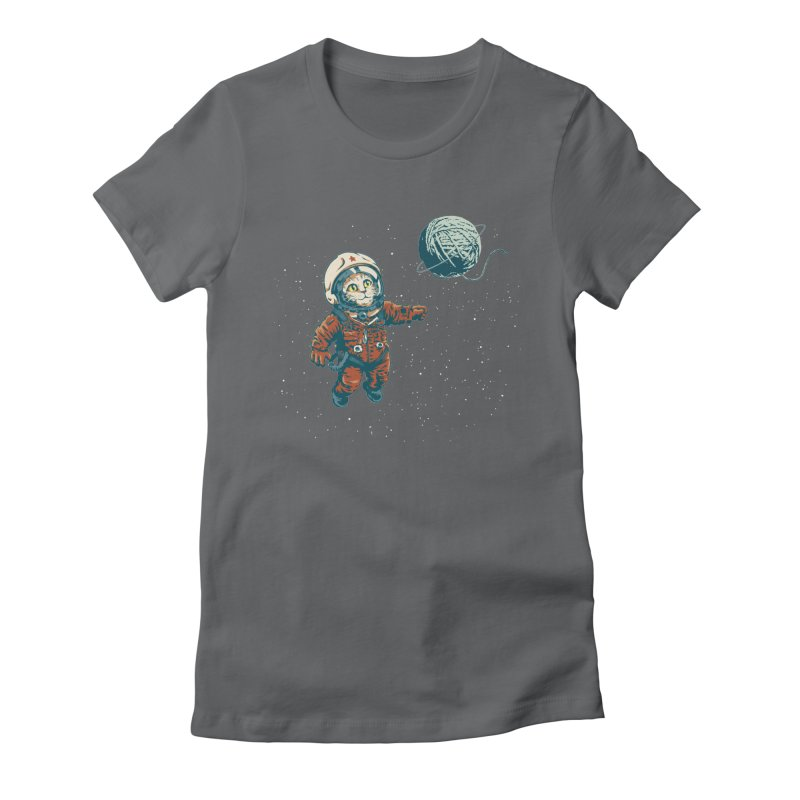 Soviet Space Cat Yarn Planet Women's Fitted T-Shirt by sketchboy01's Artist Shop