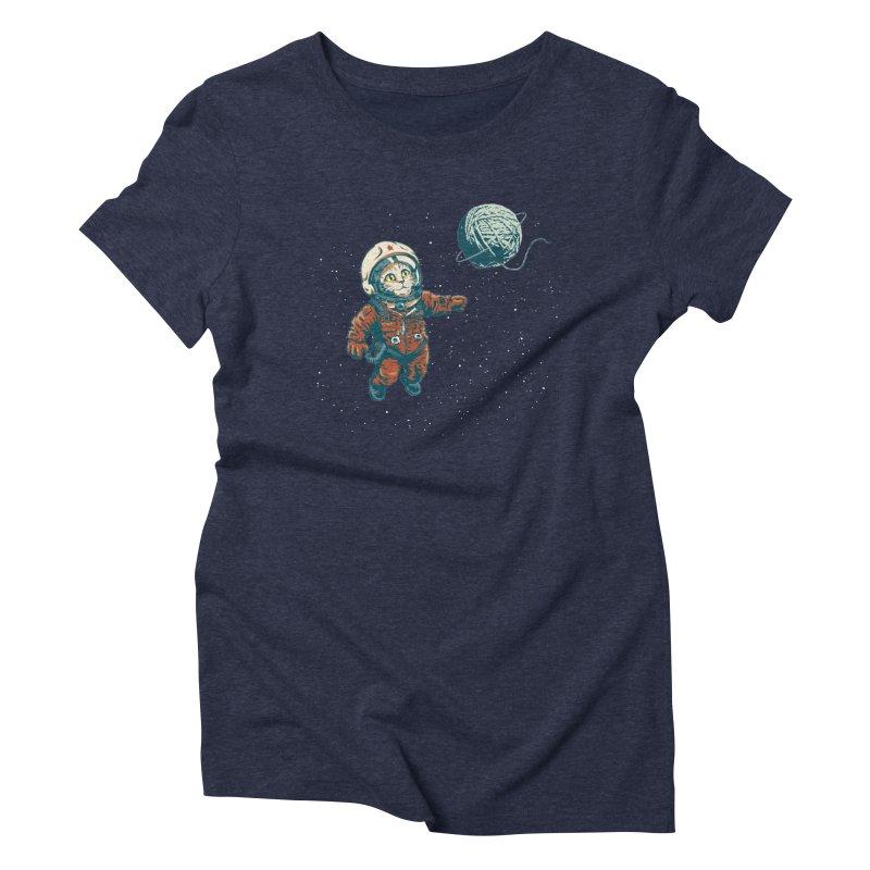 Soviet Space Cat Yarn Planet Women's Triblend T-Shirt by sketchboy01's Artist Shop
