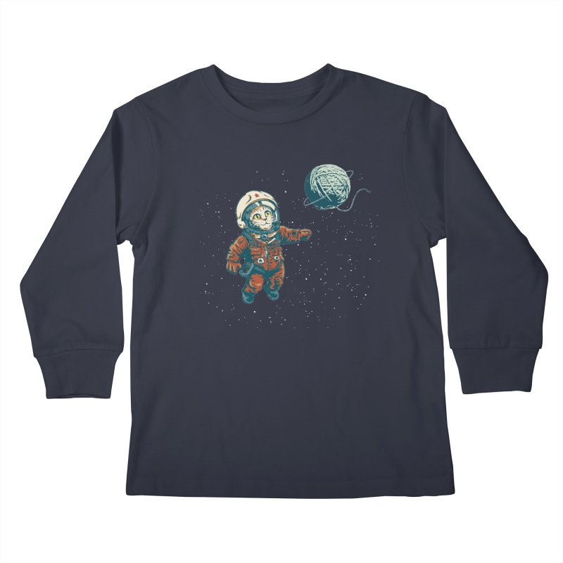 Soviet Space Cat Yarn Planet Kids Longsleeve T-Shirt by sketchboy01's Artist Shop