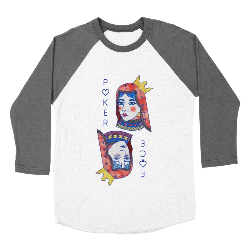 Poker Face Women's Baseball Triblend Longsleeve T-Shirt by sketchesbecrazy
