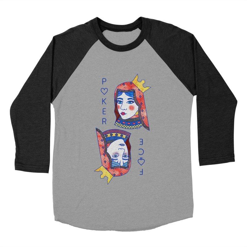 Poker Face Women's Baseball Triblend Longsleeve T-Shirt by sketchesbecrazy