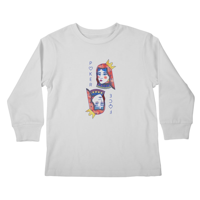 Poker Face Kids Longsleeve T-Shirt by sketchesbecrazy