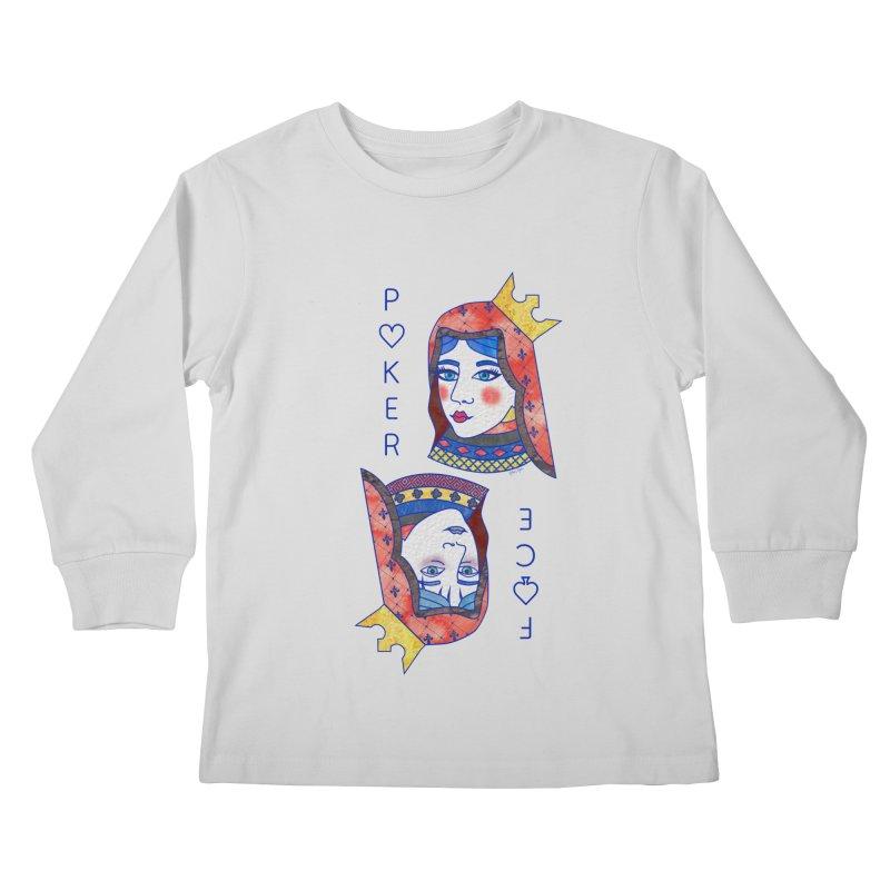 Poker Face Kids Longsleeve T-Shirt by sketchesbecrazy