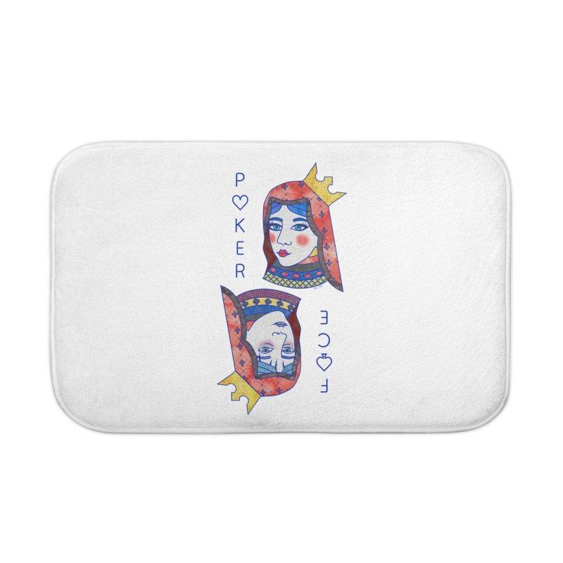 Poker Face Home Bath Mat by sketchesbecrazy