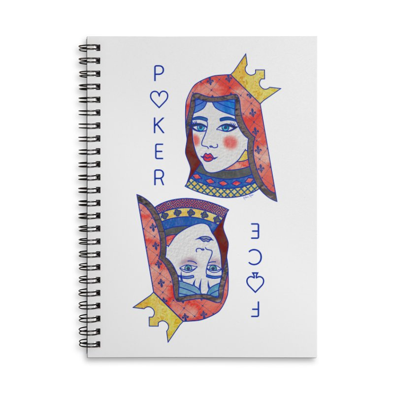 Poker Face Accessories Lined Spiral Notebook by sketchesbecrazy