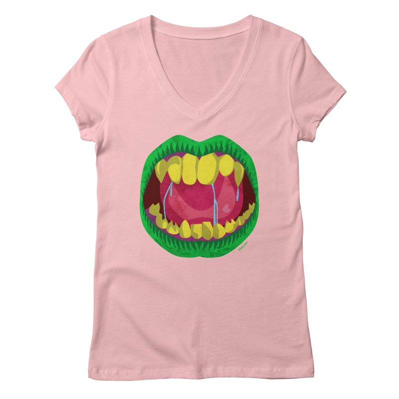 Open Wide and Say AHHH! Women's Regular V-Neck by sketchesbecrazy