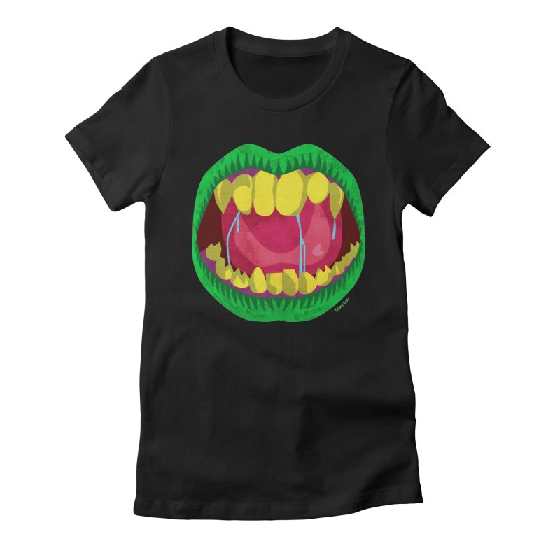 Open Wide and Say AHHH! Women's Fitted T-Shirt by sketchesbecrazy