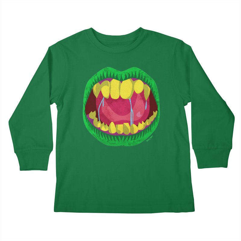 Open Wide and Say AHHH! Kids Longsleeve T-Shirt by sketchesbecrazy