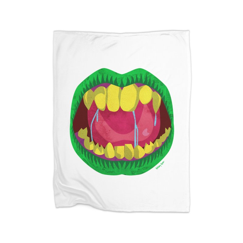 Open Wide and Say AHHH! Home Fleece Blanket Blanket by sketchesbecrazy