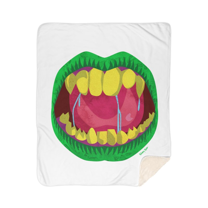 Open Wide and Say AHHH! Home Sherpa Blanket Blanket by sketchesbecrazy