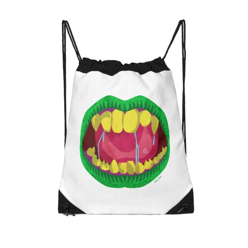 Open Wide and Say AHHH! Accessories Drawstring Bag Bag by sketchesbecrazy