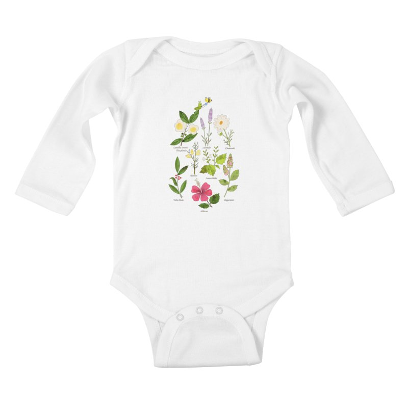 Tea Time Kids Baby Longsleeve Bodysuit by skinnyandy's Artist Shop