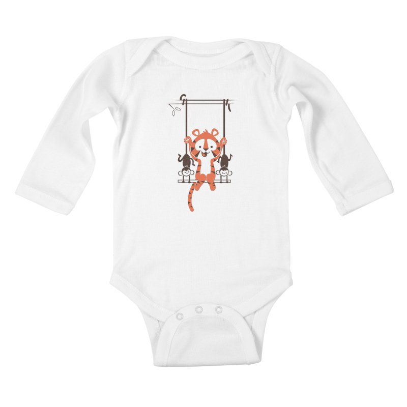 Monkey Swing Kids Baby Longsleeve Bodysuit by skinnyandy's Artist Shop