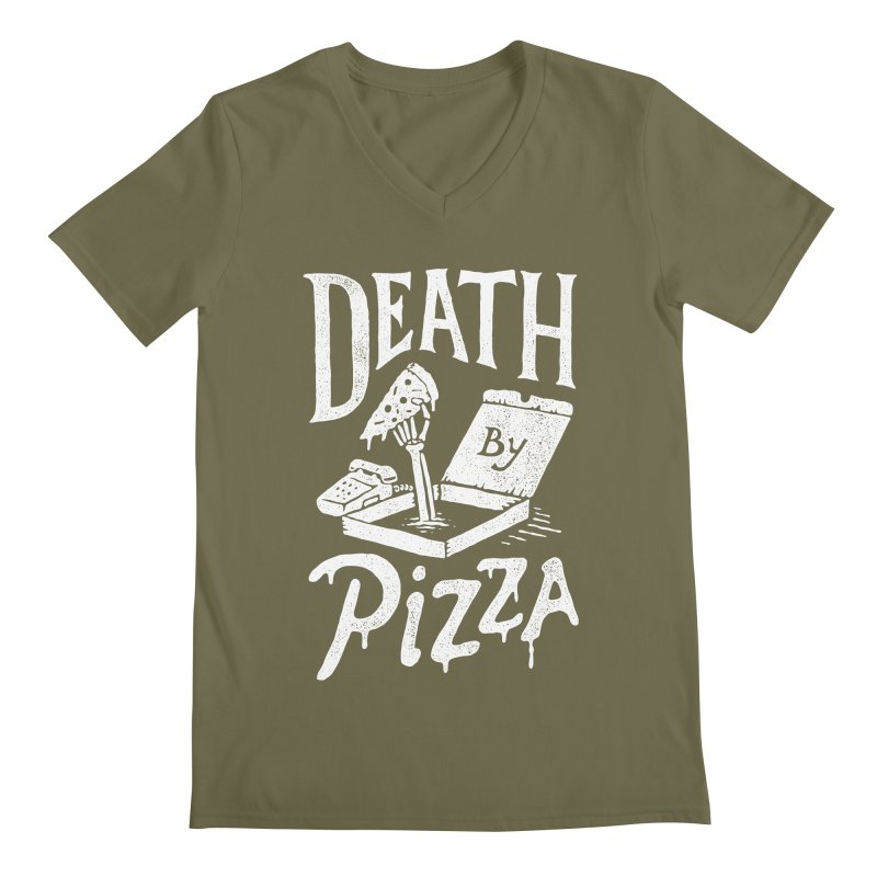 Death By Pizza Men's V-Neck by skitchism's Artist Shop