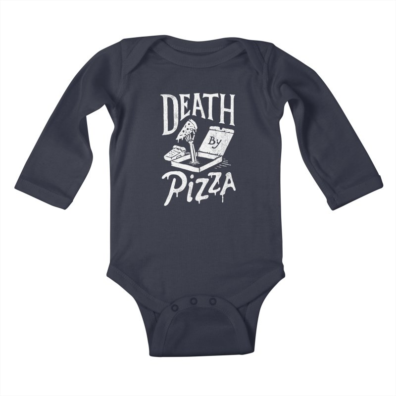 Death By Pizza Kids Baby Longsleeve Bodysuit by skitchism's Artist Shop