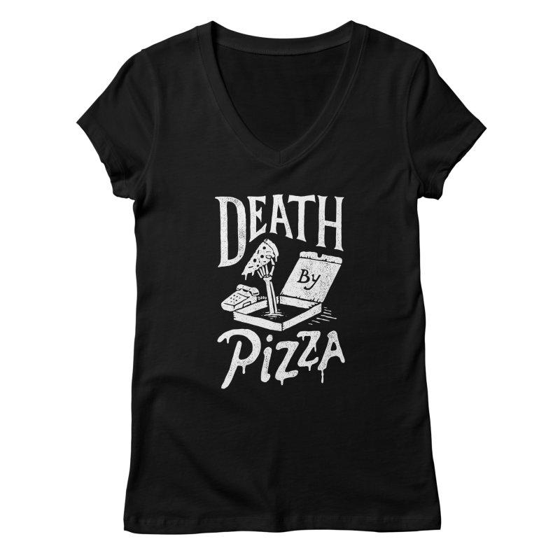 Death By Pizza Women's V-Neck by Tatak Waskitho