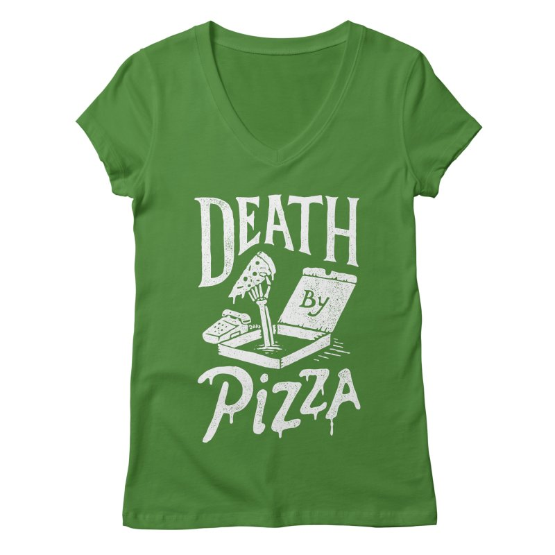 Death By Pizza Women's V-Neck by skitchism's Artist Shop