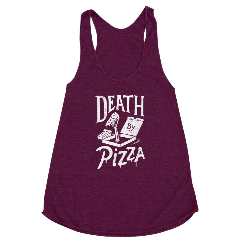 Death By Pizza Women's Racerback Triblend Tank by skitchism's Artist Shop