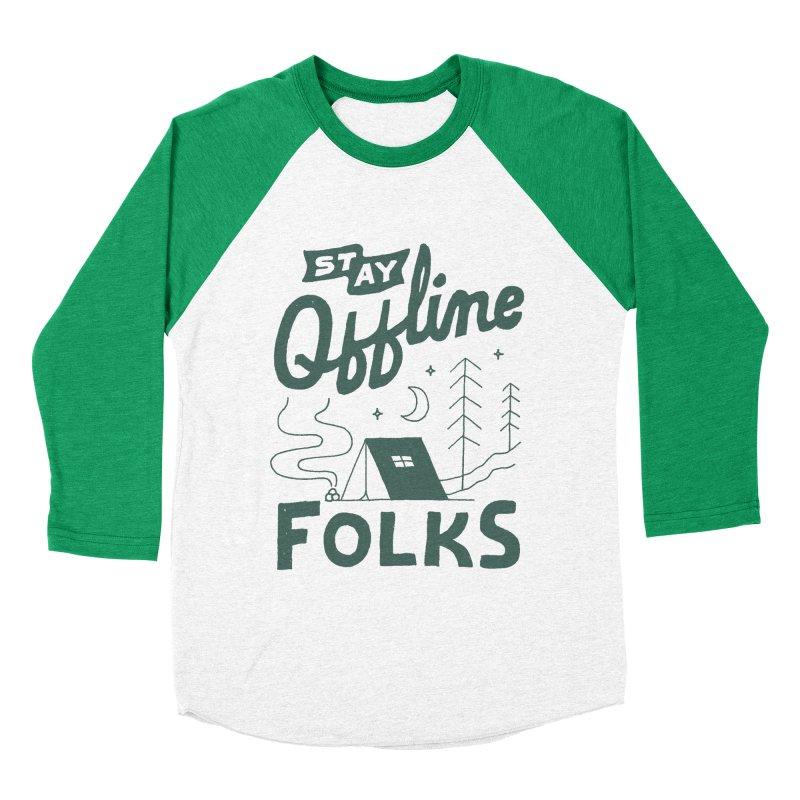 Stay Offline Men's Baseball Triblend Longsleeve T-Shirt by Tatak Waskitho