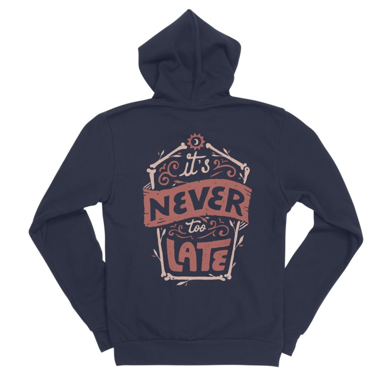 Never Late Men's Sponge Fleece Zip-Up Hoody by Tatak Waskitho