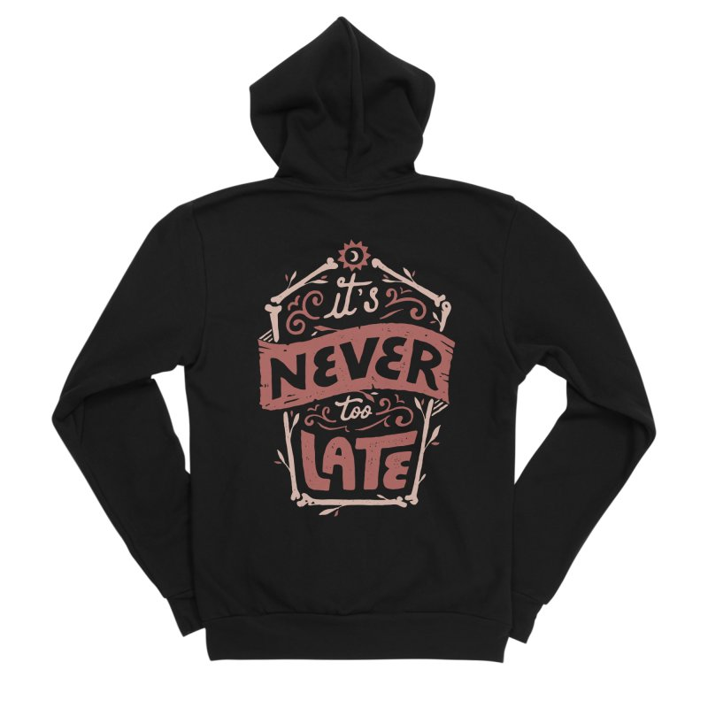 Never Late Men's Sponge Fleece Zip-Up Hoody by skitchism's Artist Shop