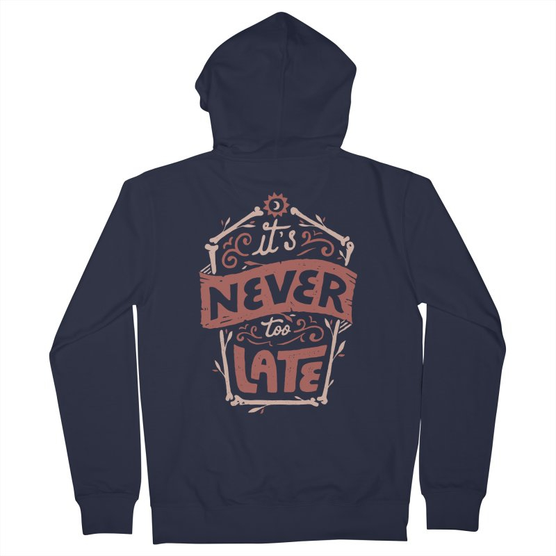 Never Late Men's French Terry Zip-Up Hoody by Tatak Waskitho