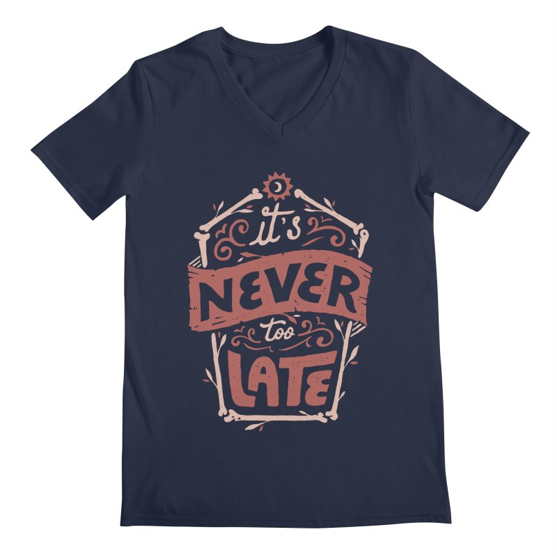 Never Late Men's Regular V-Neck by Tatak Waskitho