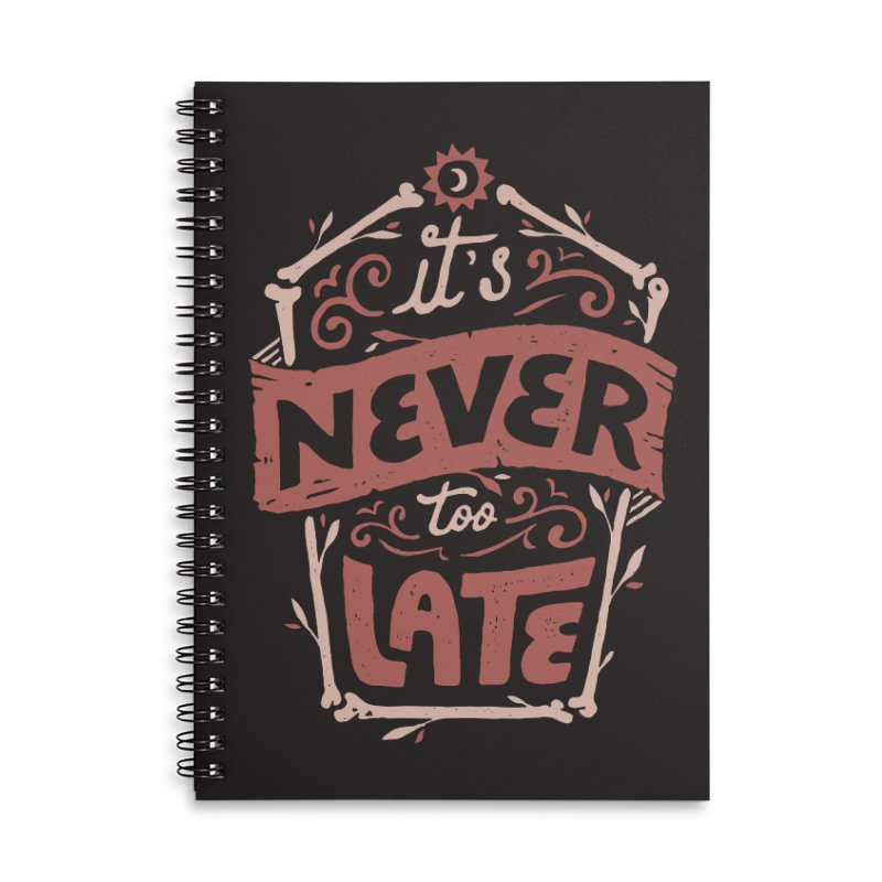 Never Late Accessories Lined Spiral Notebook by Tatak Waskitho