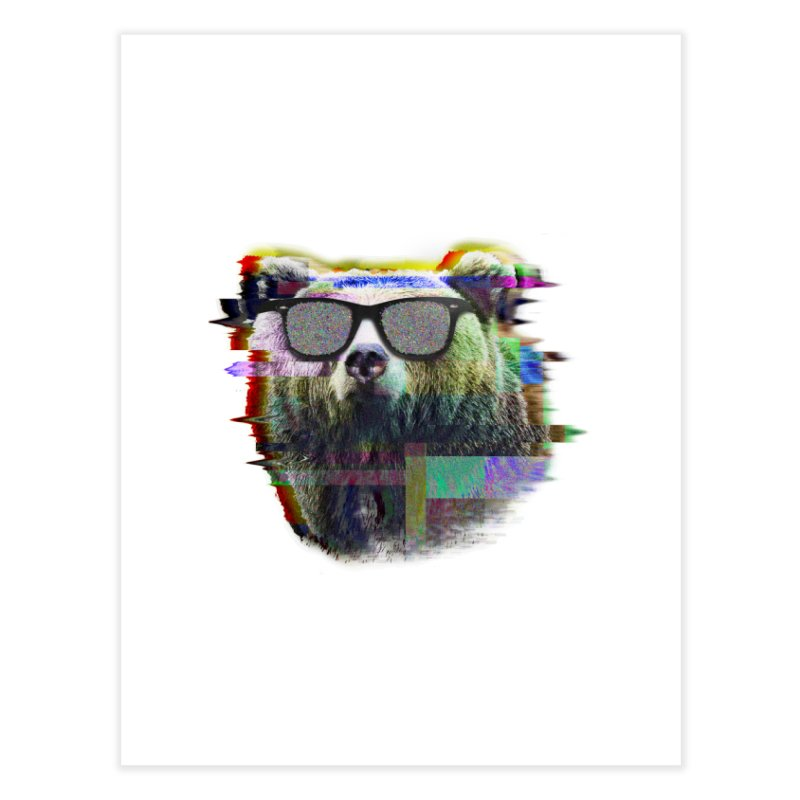 Bear Summer Glitch Home Fine Art Print by sknny