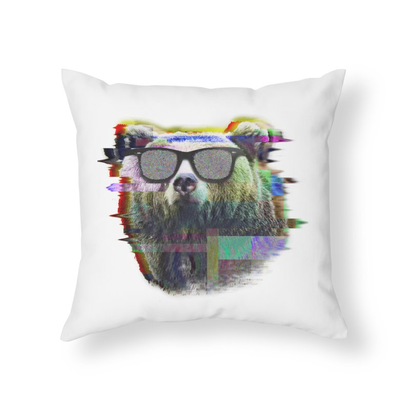 Bear Summer Glitch Home Throw Pillow by sknny