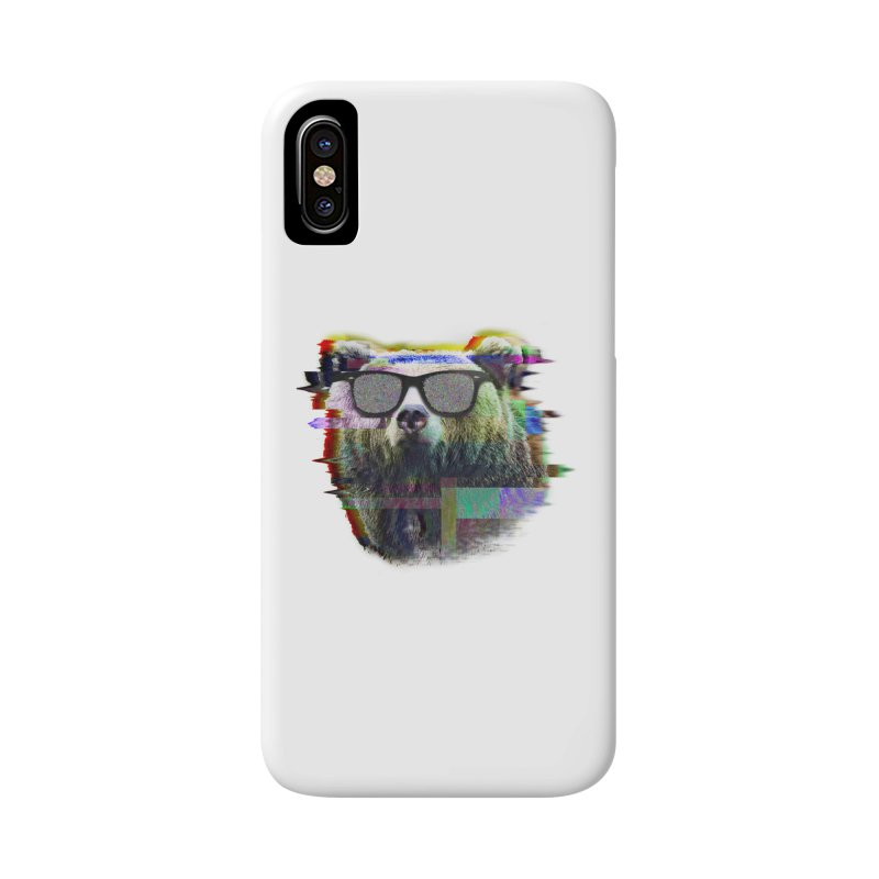 Bear Summer Glitch Accessories Phone Case by sknny