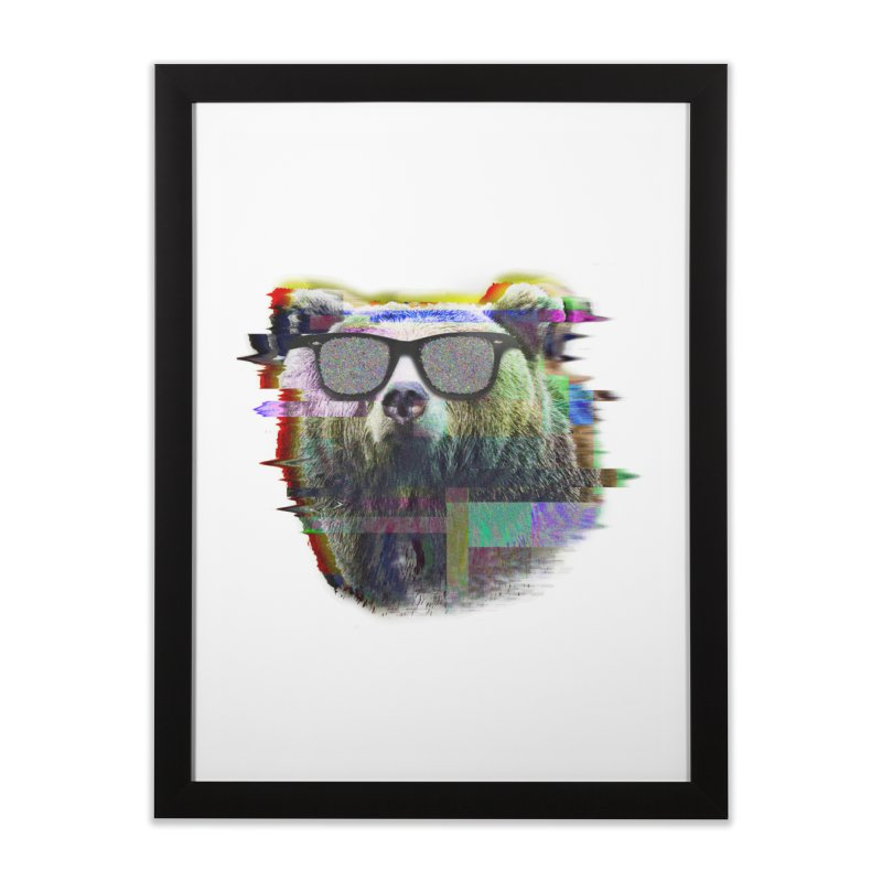 Bear Summer Glitch Home Framed Fine Art Print by sknny
