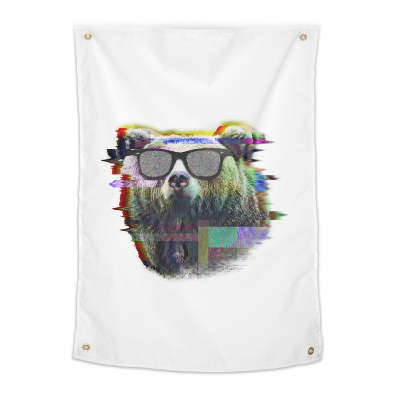 Bear Summer Glitch Home Tapestry by sknny