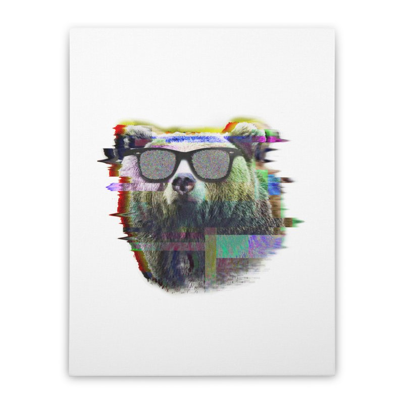 Bear Summer Glitch Home Stretched Canvas by sknny