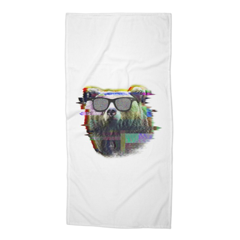 Bear Summer Glitch Accessories Beach Towel by sknny