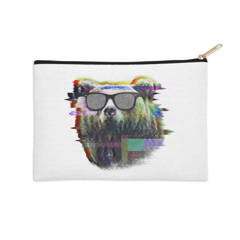 Bear Summer Glitch Accessories Zip Pouch by sknny