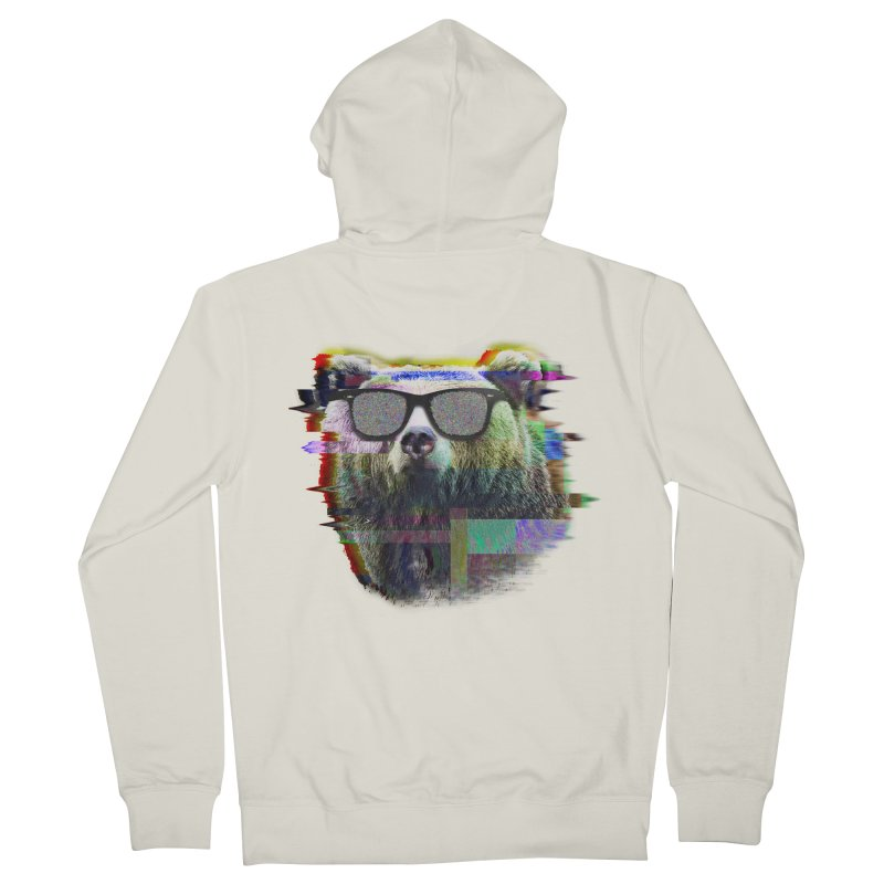 Bear Summer Glitch Men's Zip-Up Hoody by sknny