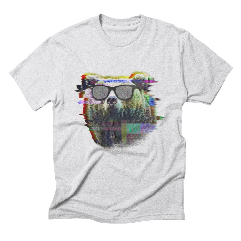 Bear Summer Glitch in Men's Triblend T-Shirt Heather White by sknny