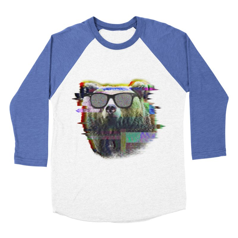 Bear Summer Glitch Men's Baseball Triblend T-Shirt by sknny