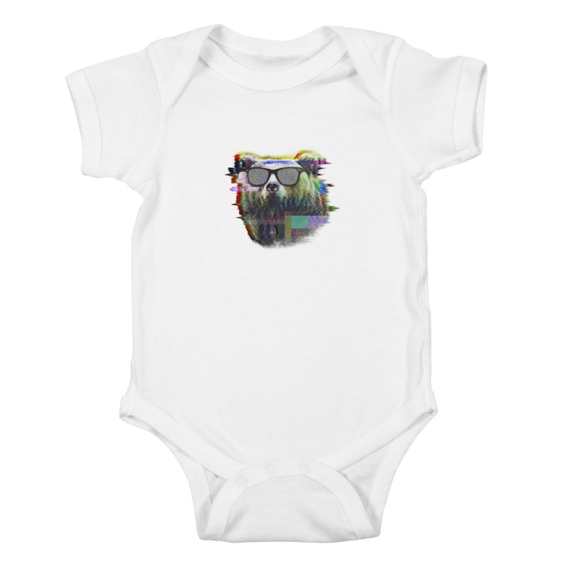 Bear Summer Glitch Kids Baby Bodysuit by sknny