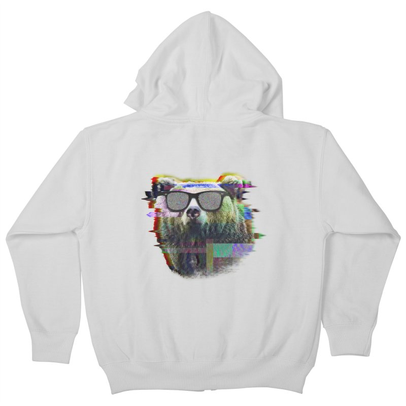 Bear Summer Glitch Kids Zip-Up Hoody by sknny