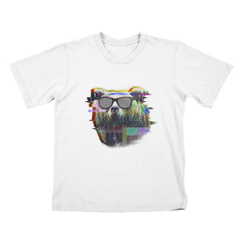Bear Summer Glitch Kids T-Shirt by sknny