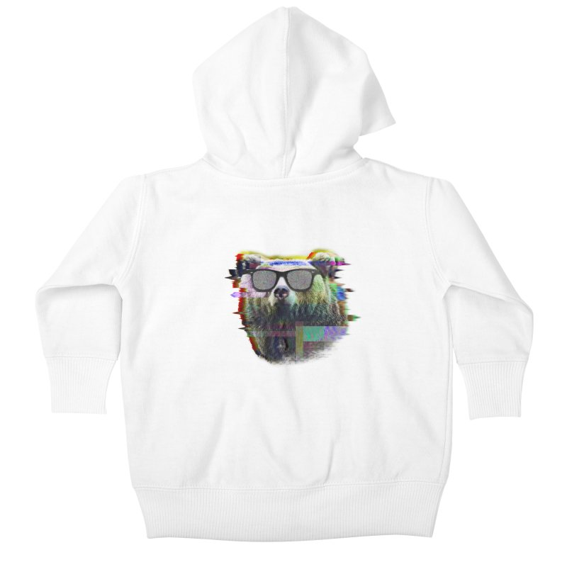 Bear Summer Glitch Kids Baby Zip-Up Hoody by sknny