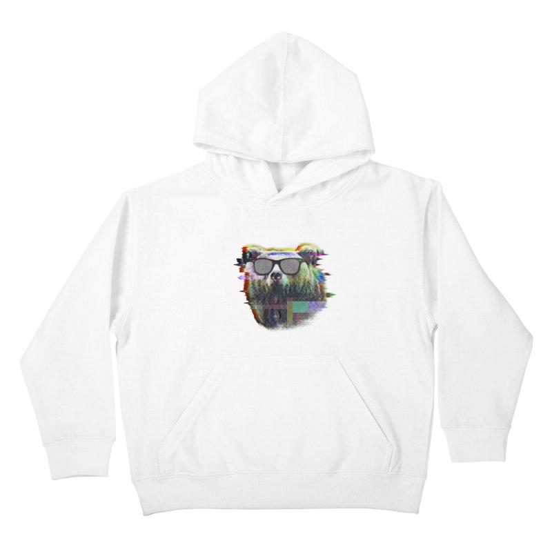 Bear Summer Glitch Kids Pullover Hoody by sknny