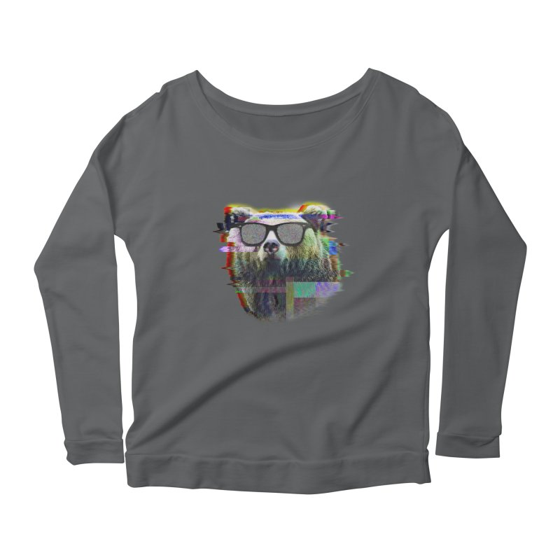 Bear Summer Glitch Women's Longsleeve Scoopneck  by sknny