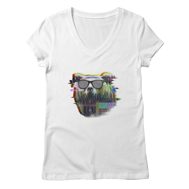 Bear Summer Glitch Women's V-Neck by sknny