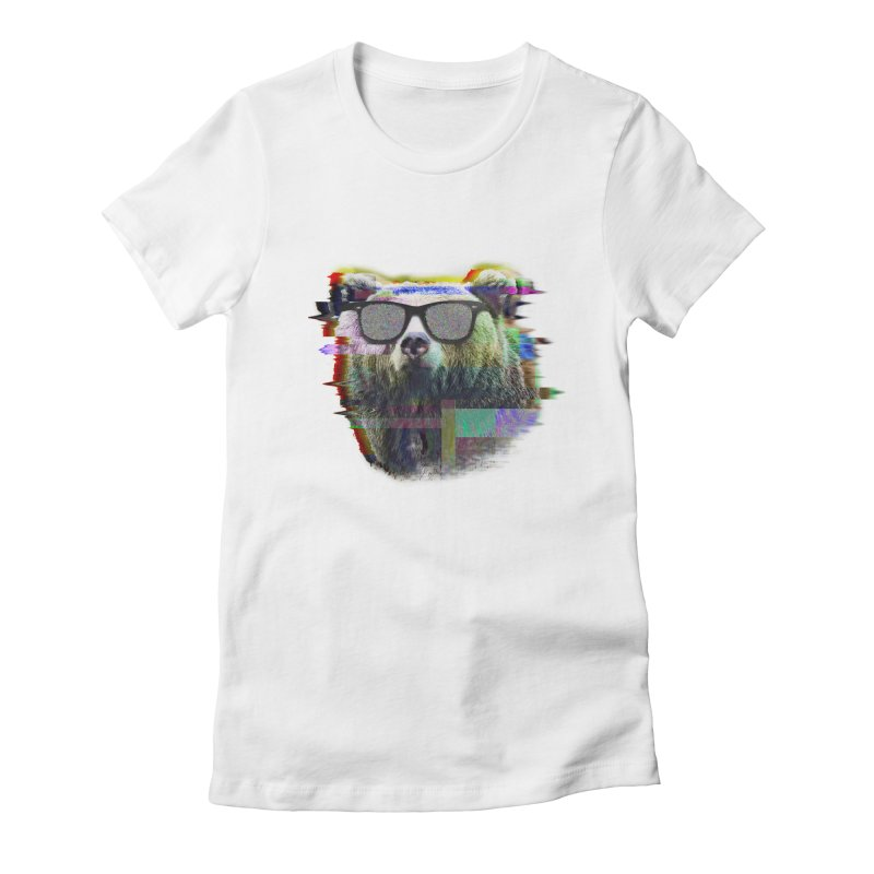 Bear Summer Glitch Women's Fitted T-Shirt by sknny