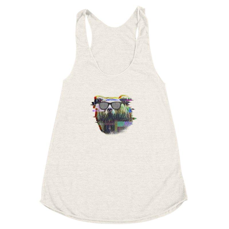 Bear Summer Glitch Women's Racerback Triblend Tank by sknny
